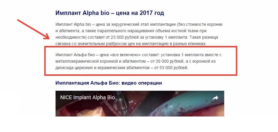 Цены на импланты «Alpha Bio»