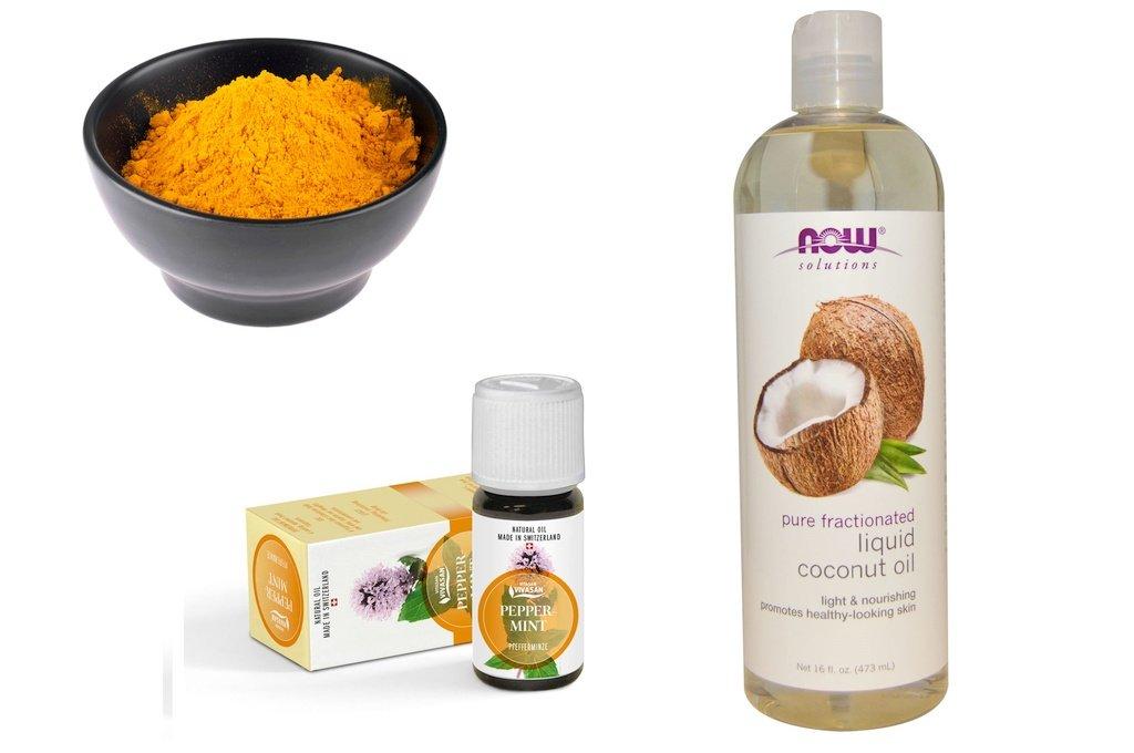 Куркума (порошок), кокосовое масло и масло мяты перечной